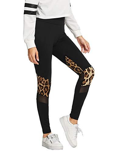 SweatyRocks Women's Yoga Mesh Leopard Print Leggings Pants Black S