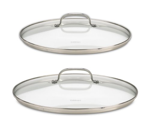 Cuisinart 71-2228CG Chef's Classic Stainless 2-Piece Glass Lid Set,9
