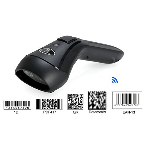 Koolertron Upgraded Dual 2.4G Wireless + Bluetooth Wireless 1D 2D Barcode Scanner QR PDF417 Data Matrix UPC Rechargeable Bar Code Scanner for Laptops/PC/Android/Apple IOS (1D&2D)