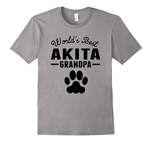 Akita Slate (Mens World's Best Akita Grandpa T-Shirt Medium Slate)