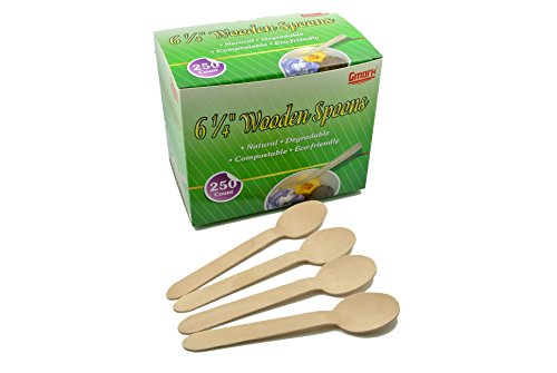 "Price comparison product image Gmark Eco-Friendly 250 ct Wooden Spoons,  6.25"" Length Disposable Biodegradable Wooden Cutlery,  Green Product (Box of 250pcs) GM1009"