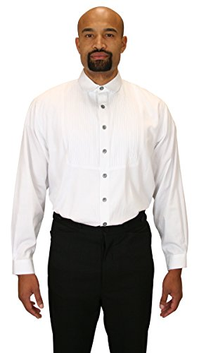 [Historical Emporium Men's Sinclair Edwardian Club Collar Dress Shirt L White] (Sweeney Todd Halloween)