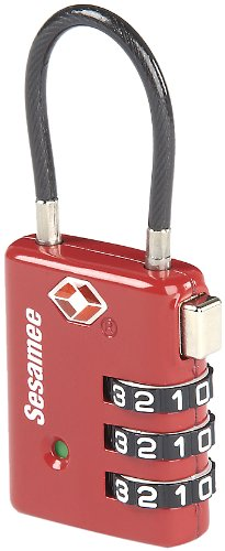 Sesamee K7500PRD 3 Dial Resettable Combination Cable TSA Approved Travel Lock with Indicator, Red