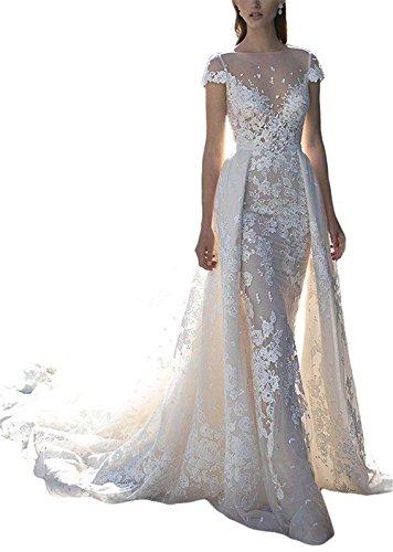 XSWPL Elegant Lace Mermaid Wedding Dress for Bride with Detachable Train Ivory US6 Detachable Train