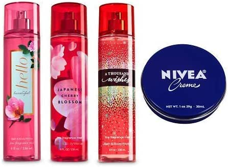 Bath and Body Works 3 Pack Fine Fragrance Mist 8 Oz. Hello Beautiful, Japanese Cherry Blossom and A Thousand Wishes. Travel Size Creme 1 Oz.