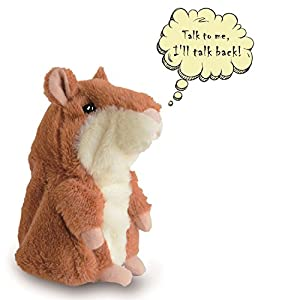 Talking Hamster Plush Kids Stuffed Toy Repeats What You Say, Talking Record Plush Interactive Toys for Valentine's Day, Birthday, Christmas, Kids Early Learning Gift (Brown)