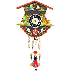 Clock with Swinging Girl and Chimes
