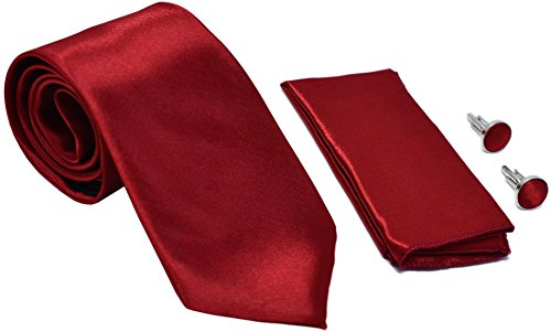 Kingsquare Solid Color Men's Tie, Pocket Square, and Cufflinks matching set (Dark Red)