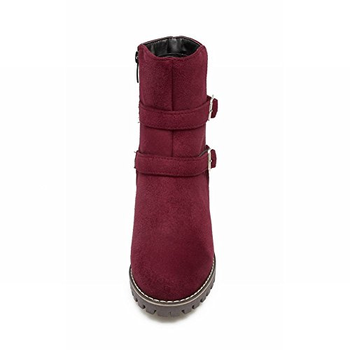 Mee Shoes Damen chunky heels Nubukleder Plateau Stiefel Rot