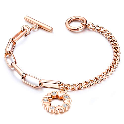 - Jakob Miller Women Girls Rose Gold Tone Bracelet Stainless Steel Round Heart Circle Charms Link Bracelet with Toggle Clasp