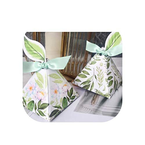 TOKYO HOT Wedding Favors Bomboniera Birthday Gift Box Green Forest Style Triangular Pyramid Flower Leaves Candy Boxes Leaf Tags+Ribbon,Green]()