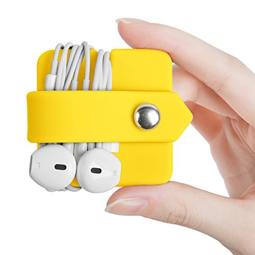 ELFRhino Headphone Organizer Earphone Organizer Tangle-Free Earbuds Organizer Cord Manager Keeper Durable Wrap Winder Cable Winder Yellow