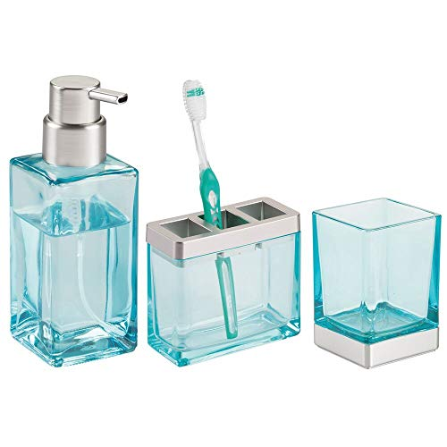 (mDesign Square Glass Bathroom Vanity Countertop Accessory Set - Includes Refillable Soap Dispenser, Divided Toothbrush Stand, Tumbler Rinsing Cup - 3 Pieces - Blue/Brushed)