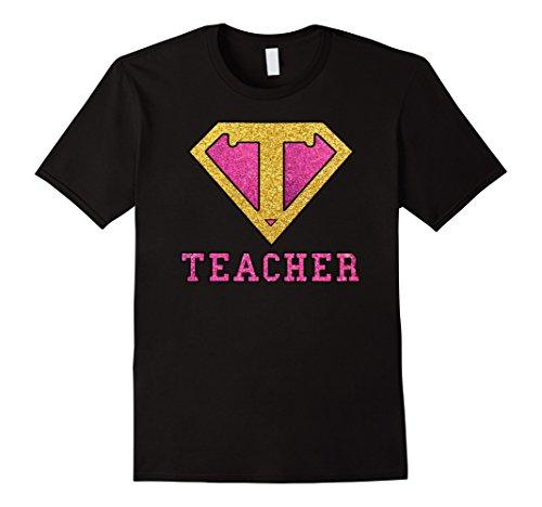 Male Superhero (Mens Super Hero Teacher Glitter Gold Pink Gift Tshirt 3XL Black)