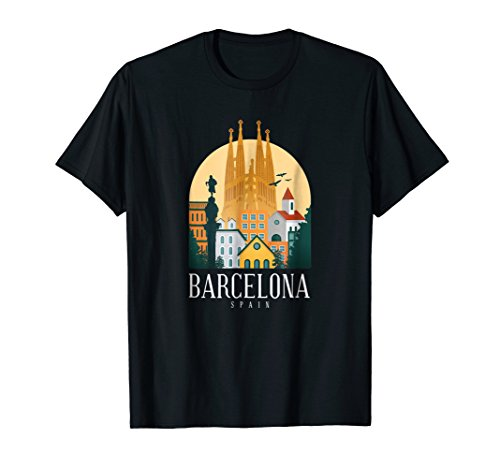 Barcelona Skyline T Shirt Graphic Vintage Souvenir ()