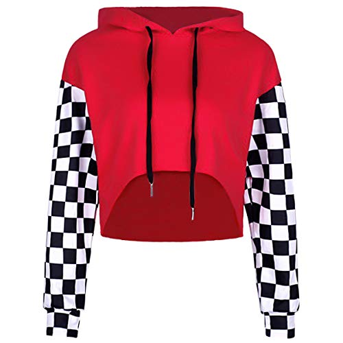 Mirawise Women's Red Cropped Hoodie Long Sleeve Plaid Patchwork Loose Crop Tops Soft Shirts