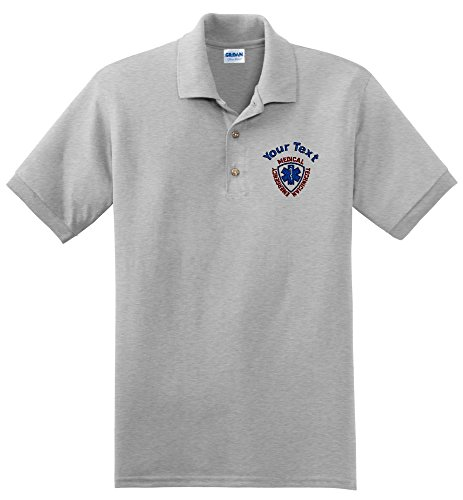ALLNTRENDS Mens Polo T Shirt EMS Embroidered Emergency Medical Services Shirt