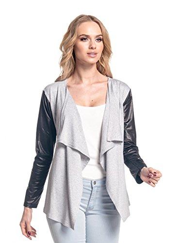 Glamour Empire para mujer Abrigo chaqueta cascada manga de cuero sintético. 098 Mezcla De Grises