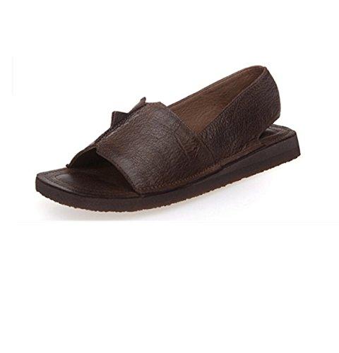 Retro Fischkopf Flache Sandalen Einfache Hand Brown