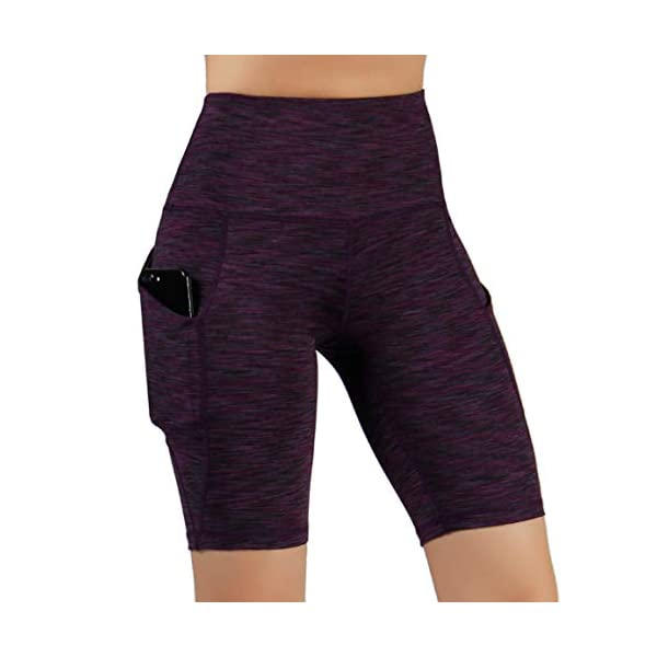 ODODOS High Waist Out Pocket Yoga Short Tummy Control Workout Running Athletic Non See-Through Yoga Shorts 14