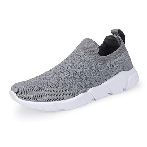 A-PIE Men's Running Athletic Shoes Breathable Lightweight Fashion Sneakers Casual Walking Shoes Gray 45