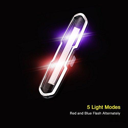 Zehui–Bike Tail Light, Lámpara de luz estroboscópica de alerta con la carga USB, Ciclismo Luz trasera, 5LED COB...
