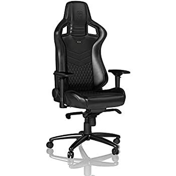 noblechairs Epic Gaming Chair - Office Chair - Desk Chair - Nappa Leather - 265 lbs - 135° Reclinable - Lumbar Support Cushion - Racing Seat Design - Black