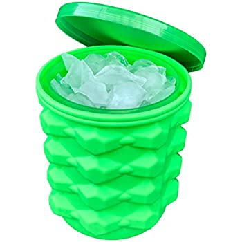 The Ultimate Ice Cube Maker Silicone Bucket with Lid Makes Small Size Nugget Ice Chips for Soft Drinks, Cocktail Ice, Wine On Ice, Crushed Ice Maker Bucket Ice Tray Silicon Ice Cube Molds Cylinder Ice