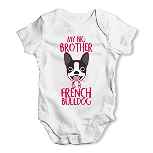 TWISTED ENVY My Big Brother is A French Bulldog Infant Creeper Bodysuit Onesie White 0-3 M