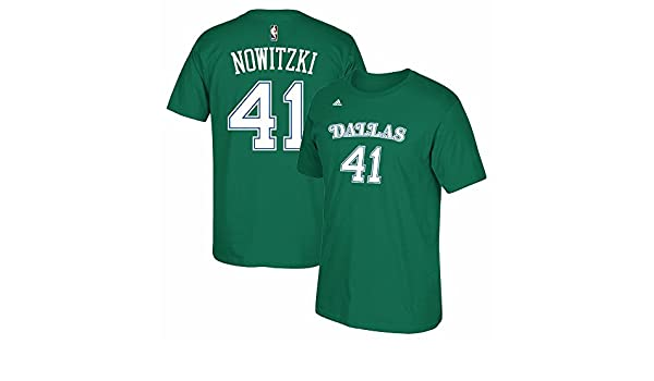 e0aeefdac2b Amazon.com  adidas Dirk Nowitzki Dallas Mavericks Hardwood Classics Kelly  Green Shirt  Sports   Outdoors