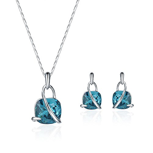 JUST N1 Woman Fashion Jewelry Set Water Droplets Crystal Short Paragraph Clavicle Necklace Earrings (Bule)