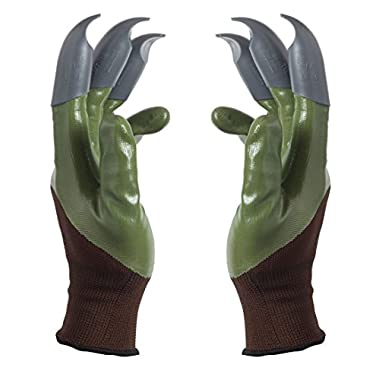 Honey Badger Garden Gloves For Digging & Planting No More Worn Out Fingertips Unisex Claws On Both Hands Olive Green & Gray Claws Patent Pending