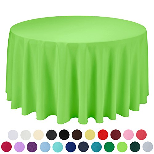 VEEYOO 120 inch Round Solid Polyester Tablecloth for Wedding Restaurant
