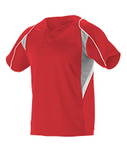 Alleson Youth 2 Button Henley Baseball Jersey Scarlet, Grey, White L 529Y 529Y-SCGRWH-L (2 Button Henley Baseball Jersey)