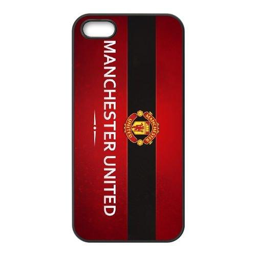 Manchester United funda iPhone 5 5S caja funda del teléfono celular del teléfono celular negro cubierta de la caja funda EOKXLLNCD25754
