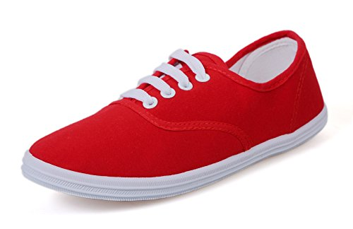 VenusCelia Women's Champion Original Canvas Sneaker (7 B(M) US, Red) (Dollars Tennis Under Shoes 20)