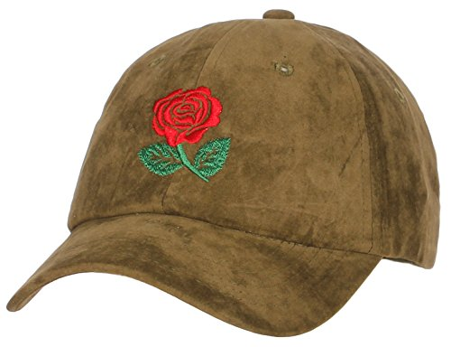 American Classic Rose - American Cities Embroidery Classic Cotton Baseball Dad Hat Cap Various Design - Big Rose Olive