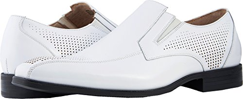 Stacy Adams Men's Fairfax Bike Toe Slip-On Loafer, White, 7 M US Adams Loafers