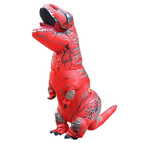 Owill Adult Inflatable T-Rex Trex Dinosaur Blow Up Fancy Costume Suit Party Party Toy (One Size 220cm, Red)