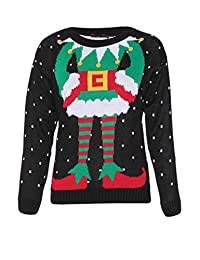 Missi Clothing Womens Ugly Christmas Sweater Elf Body Black Jumper