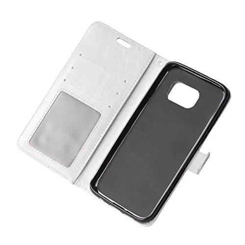 Wkae Case Cover Sintético de alta calidad caja de cuero de la carpeta del color sólido de la cubierta del soporte de silicona para Samsung S7 Edge ( Color : Red , Size : Samsung S7 Edge ) White