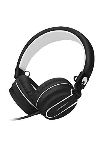 RockPapa Stereo Adjustable Foldable Headphones Lightweight Headband Headsets with Microphone 3.5mm for Cellphones Smartphones iPhone Tablets Laptop Computer Mp3/4 DVD (Black/White)