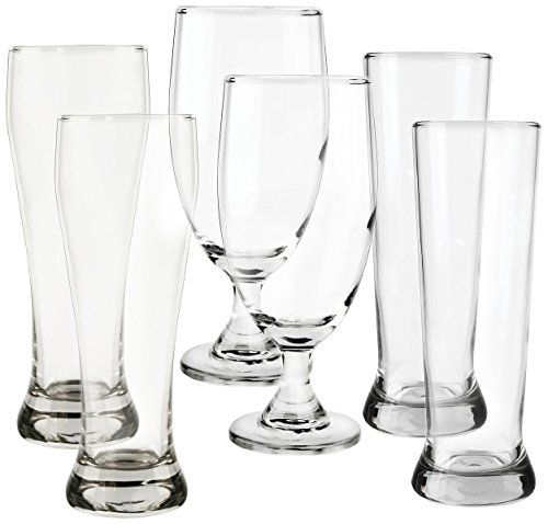 Circleware Scotland 6 Piece Footed Stem Drinking Glasses & Pilsners Beer Set, 2-20 oz/2-19 oz/2-16.25 oz, - Ounce Beer 19 Pilsner