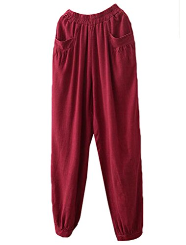 Minibee Women's New Cotton Linen Tapered Cropped Pants Elastic Waist Trousers Wine red-M ()