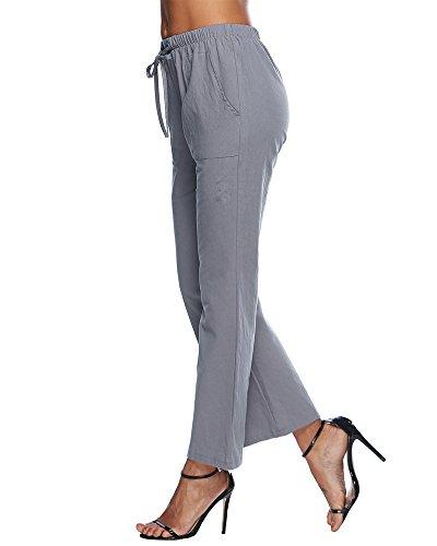 Yoga Pilates Sportivi Grigio ShallGood Pantaloni Eleganti Estate Laterali Pantaloni Pants Tasche Lungo Coulisse Casual Elastico Con Donna w7aSqO7xP