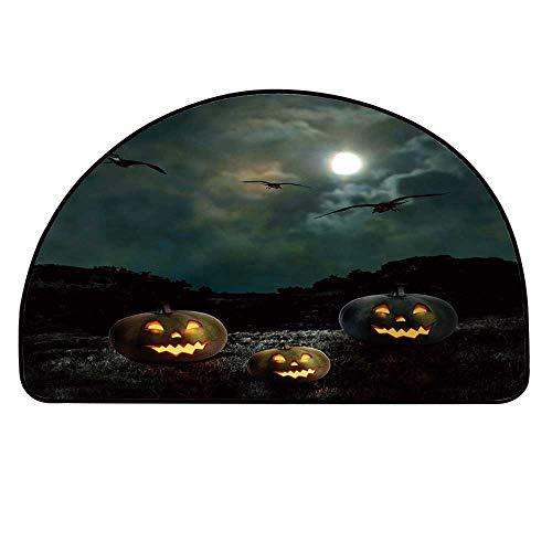 YOLIYANA Halloween Doormat,Yard of an Old House at Night Majestic Moon Sky Creepy Dark Evil Face Pumpkins Decorative Entryway Mat,25.9