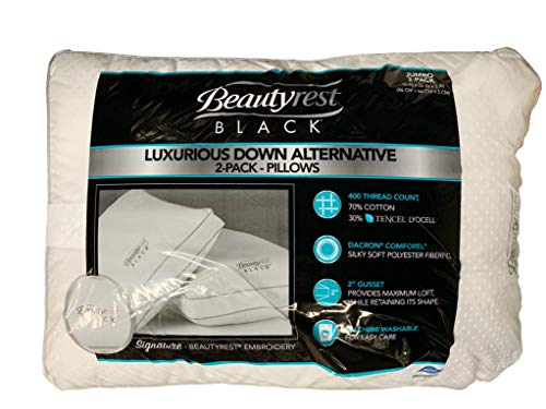 BeautyRest Black Luxurious Down Alternative Pillows 400 Thread Jumbo - 2 -