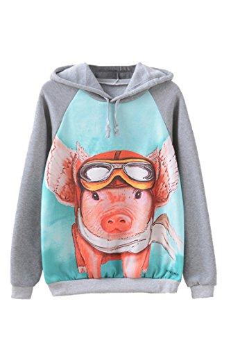 Pig Print - PinkWind Women's Pig Cute Print Raglan Sleeve Fleeces Cotton Hoodies Sweatshirts S