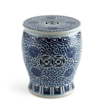 Chinese Ceramic Porcelain Garden Stool - Asian Traditional Chinese Blue & White Twisted Lotus Drum Stool Ceramic / Porcelain Design Home Office Decor