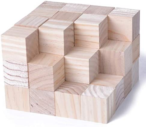 KINGCRAFT 40pcs Solid Wood Craft Blocks DIY Crafts Carving Painting Art Supplies for Shower Game Puzzle Making1.5inch